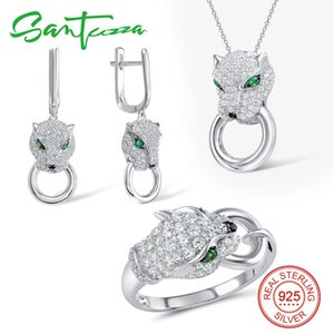SANTUZZA joyería de plata de la joyería para las mujeres pura plata de ley 925 Pendientes de moda anillo colgante Pantera blanca determinada de la CZ Moda