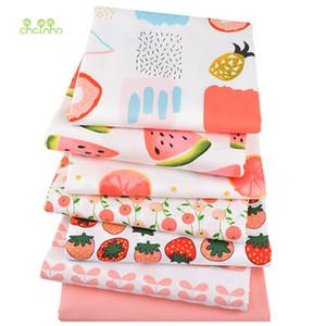Chainho tela de algodón de sarga impresa, tela de retazos, tejido de fruta de dibujos animados, DIY SewingQuilting Material para BabyChildren, 7 unids/lote