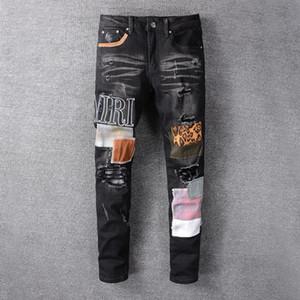 2020 hommes skinny jeans luxe classique Straight Jeans Pantalons Wash Cowboy Slim Denim Skinny Pantalons jeans des hommes en noir