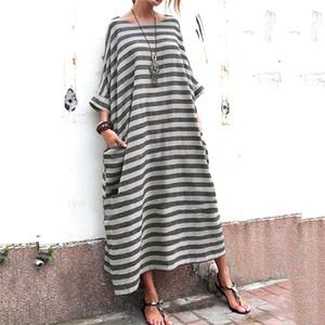 بالاضافة الى حجم النسائية عارضة فساتين أزياء طباعة الشريط جيوب نصب منصة إمرأة مصمم الأمومة فساتين عادية الإناث الملابس