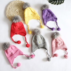 New Kids Knitted Cap Individual Embroidered Fruit Wool Cap Outdoor Cold-proof Warm Headgear Cotton Cap For Children