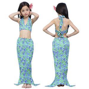 3PCS Bambini Mermaid Tail Princess Dress Neonate Bambini Balneazione Split Costume da bagno Costume da bagno Bikini Fancy Dress Clothes