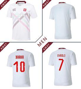 Suiza 2020 2021 Jerseys de fútbol lejos 20 21 Suiza Akanji Zakaria Rodríguez Elvedi National Team Football Shirts