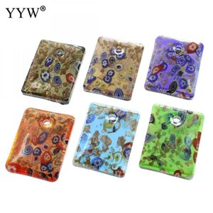 Inner Flower Jewelry Making Lampworked Glass Pendants Famous Rectangle Gold Sand Mixed Colors 34x45x9mm Hole Approx 4mm