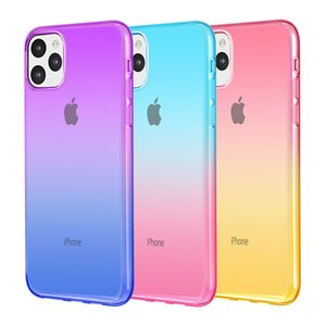التدرج اللون القضية لمدة 11 برو ماكس XR XS 7 زائد سامسونج A10 A20 S10 ملاحظة 10 مزدوجة الألوان TPU حالات الهاتف