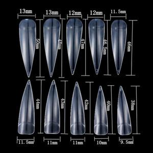 500pcs / embalar Transparente / Falso Branco / Natural Longo Stiletto Pointy Artificial cobrir metade do Falso Mão Francês Nails Dicas Art Salon
