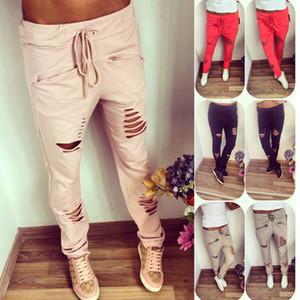 Cintura alta Skinny Jeans Moda para Mulheres Furo rasgado Slit Punk Vintage Meninas Magro rasgadas Calças Lace Up Denim Pencil