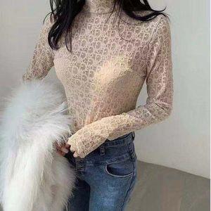 camicia di pizzo Primer femminile nuovo stile pizzo spirito estraneo porta all'interno metà collo alto garza netta temperamento fata manica lunga