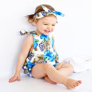 Infant Flor do verão Bebé recém-nascido macacãozinho Impresso macacãozinho Com Headband do bebê da menina roupa ocasional menina macacões 0-24M 07