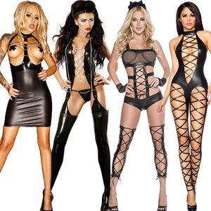 TaFiY Halloween Femmes Noir Sexy Jumpsuit Hallow Out Faux cuir Wear Club de Costumes Costumes Vêtements Costumes catsuit chat sexy