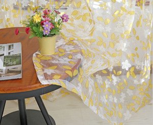 Flocking Floral Pattern Tulle Voile Door Window Curtain cortinas for living room blackout curtains 1M x 2M 3 Colors