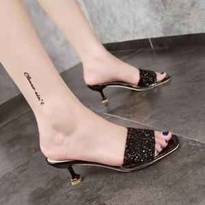 YOUYEDIAN Femmes Pantoufles 2019 Bling Talon Mince Été Diapositives Classiques Noir Femme Pantoufles Or Argent Occasionnels Chaussures de Fête