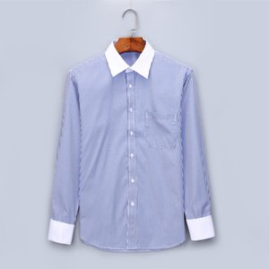Striped Men French Cufflinks Casual Dress Shirts Long Sleeved White Collar Design Style Wedding Tuxedo Shirt Plus Size 6XL Y2085