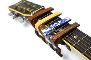 Rose Wood Sapele BlueWhite PorcelainAcoustic / guitarra elétrica de 6 Cordas da guitarra Capo Mudança Capos chave Grampo frete grátis