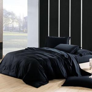 100%хлопок пододеяльник Queen King size сплошной цвет черный серый комплект постельных принадлежностей реверсивное мягкое одеяло покрывало простыня наволочки