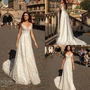 2020 Robe De Soiree A Line Appliqued Deep V Neck Lace Country Bridal Gowns Sweep Train Plus Size Bohemian Wedding Dress Elie Saab