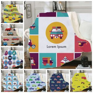 Kids Throw Blankets Cartoon Car Printed Blankets Square Picnic Blanket Sofa Couch Soft Plush Bedspreads Thin Quilt 23 Designs 10pcs DW4487