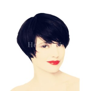 Natural Black 4 -6inch Short Pixie Cut Human Hair Machine Made Lace Capless Wigs For Black Woman