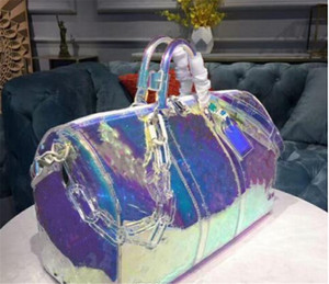 designer bolsas de luxo bolsa 50 centímetros keepall Laser PVC transparente Duffle Bag Brilliant Color bagagem Travel Bag bolsa grande capacidade