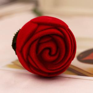 وردة حمراء صندوق خاتم شخصية المخملية زفاف الأصالة علبة هدية الموضة الأحبة خطوبة مجوهرات التغليف