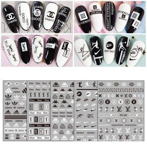 Nail Tide бренда наклейки черный и белый бренда наклейки для ногтей 3D окружающей среды Английский алфавит наклейки для ногтей