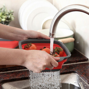 Cozinha dobrável dobrável Silicone Colander Fruit Vegetable Strainer Basket
