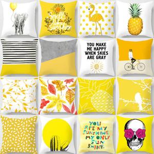 45x45cm a strisce gialla federa geometrica tiro del cuscino Stampa di copertine del cuscino di caso da letto della decorazione dell'ufficio 32styles RRA2903