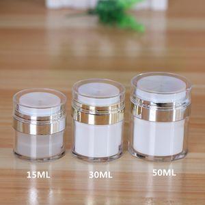 10pcs 15ml 30ml 50ml Frasco cosmético, vazio Acrílico Cream, garrafa térmica, Imprensa Creme Jar, frascos de amostra, Airless Cosmetic Container