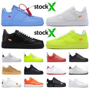 OFF-WHITE x Nike Air Force 1 one vente en gros utilitaire blanc Dunk 1 chaussures de course pour hommes femmes Université MCA Bleu Low Cut Blé Black Forces Skateboarding Trainer