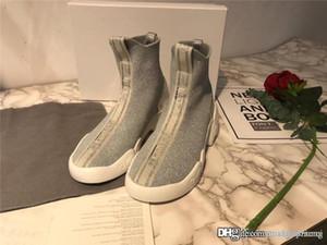 2019Dor F. Dos puntos Zero tejido de punto zapatillas de deporte High-Top zapatillas gris blanco con caja original