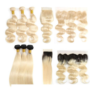 Cheap Human Virgin Hair Bundles With Closures Straight 1b 613 Brazilian Hair Extensions Body Wave Wefts Weaves With Frontal Accessories