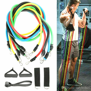 24h Shipping, 11pcs / set Pull Fitness Exercise Resistance Pands Latex Tubes Pedal Oxerciser Body Training Elastic Band FY7007