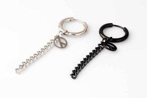 Fashion Hoop Silver Black Titanium Steel Star Skull Scorpion Cross Peace symbol Circle Chain Charms Huggie Earrings Jewelry