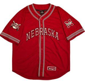 Coliseu Nebraska Cornhuskers Baseball Jersey Red Sewn Colégio personalizado qualquer nome e número de jogador