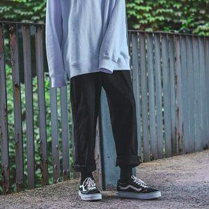 Plus Size S-5XL Loose BF Harajuku Wide Leg Pants Men Trousers Korean Fashion Straight Pants For Man Black Khaki Pants 2019