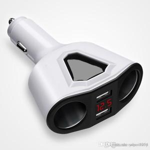 3.1A Dual USB cargador de coche con 2 encendedor de cigarrillos de visualización de sockets 120W Power Support voltímetro de corriente para la tableta del teléfono GPS DVR