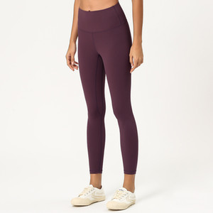 Calças Yoga L-003 para as mulheres altamente flexível e elástico Tecido Leggings Lightweight nus calças sensação de yoga Fitness Wear Ladies Marca Leggings