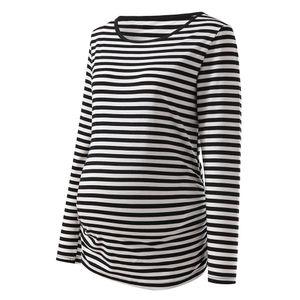 T Shirt Pregnancy Womens Maternity Stripe Long Sleeve Round Neck Blouse Shirt Tops Chemise Femme Enceinte Maternity T-shirt
