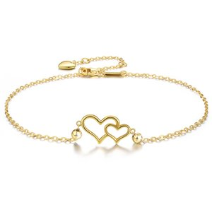 Original wholesale pure silver double love interlocking Anklet women Europe and America simple network red fashion trend simple daily