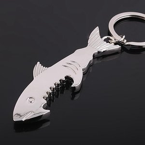 Shark bottiglia a forma di chiave apri della birra pesce Anello in lega di birra apri a sospensione multifunzionale Opener portatile portachiavi regalo creativo FWB2992