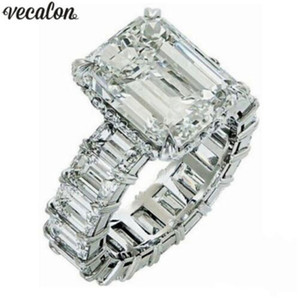 Vecalon 2019 Vintage Princess anillo de corte 925 plata esterlina 6ct Anillo de boda de Compromiso de Diamante anillos para las mujeres Joyería de Dedo