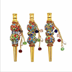 Woman Pendant Crystal Drilled Gold Cigarette Holder Circulating Filter Cigarette Holder Male Creative Metal Cigarette Smoking Pipes