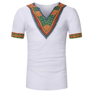 CALOFE 2020 Pattern Print Men T-shirt Summer African Style Vintage Tee&Tops V Neck Short Sleeve Tee Shirts Homme Casual Tee