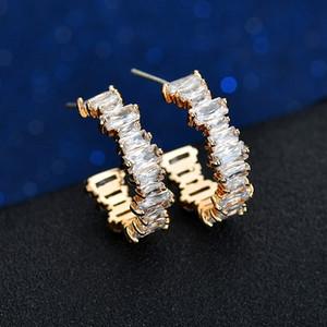 11,11 ясно багета кубического циркония CZ серьга обруча золото заполнены классические великолепных европейские женщины моды элегантность Huggie ювелирные изделия