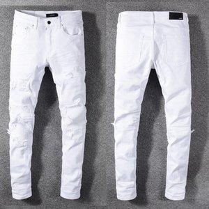 Дизайнер мужские джинсы Амири высокая улица прилив свободного покроя отверстие шорты промывают старый патч брюки высокое качество вышитые джинсовые брюки ноги брюки #592