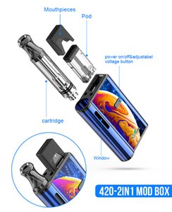 Original Kangvape Th420 2in1 Box Mod Kit 650mAh Pre-heat VV Variable Voltage 2 in 1 Battery For Compatible Pod 510 Cartridges