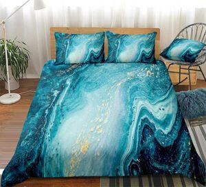 Chic Девчушки Marble пододеяльник Set Mint Gold Glitter Бирюзовый комплект постельных принадлежностей Аннотация Aqua Blue Одеяло Обложка 3шт Dropship King