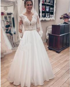 Modest Plus Size Beach A Line Vintage Wedding Dresses 2019 Lace Long Sleeves Country Greek Style Vestido De Novia Vestidos de novia B175