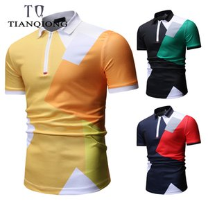 2019 New Fashion Brands Mandarin colletto Estate Polo Shirt manica corta Streetwear Slim Fit Abbigliamento uomo C19041303