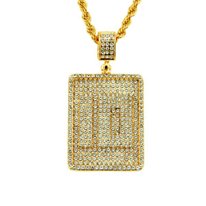Europe et Amérique Hip-Hop Bijoux transfrontaliers Hommes Tendance Simple Numéro 10 Diamant Pendentif Robe Suspendus Collier
